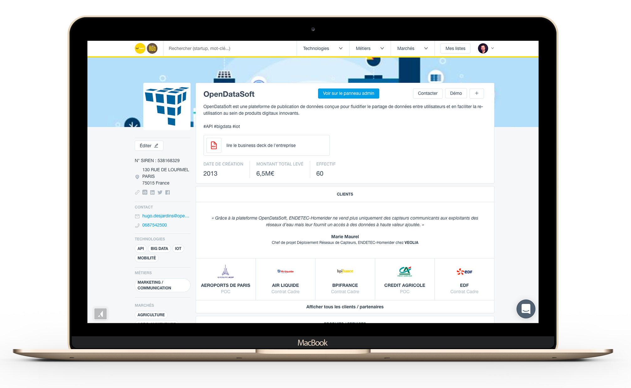 Aperçu du Hub Digital - Startups page