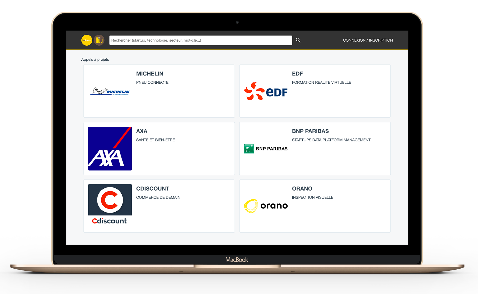 Aperçu du Hub Digital - Appel à projets page